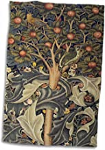 3D Rose Image of William Morris Woodpecker in Gray Orange & Ivory Hand Towel, 15 x 22