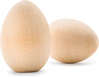 3-1/4 x 2-3/16 Inch Unpainted Wooden Eggs, Bag of 5, Flat Bottom Unfinished Wood Eggs for Easter Crafts and DisplayGoose Size Eggs, Unpainted Smooth, Ready to Paint and Decorate. by Woodpeckers