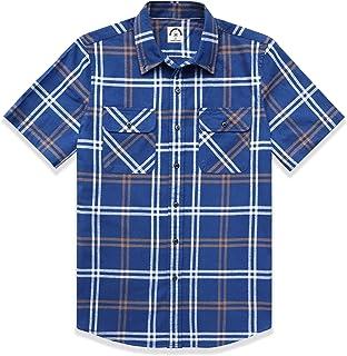 Dubinik - Camisa de manga corta a cuadros para hombre, con botones, de algodón, de estilo informal y de corte recto, con d...