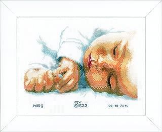 Vervaco New Born Birth Sampler Cross Stitch Kit