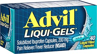 Advil Liqui-Gels (40 Count, Pack of 2) Pain Reliever / Fever Reducer Liquid Filled Capsule, 200mg Ibuprofen, Temporary Pain Relief