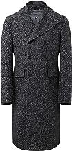 The Platinum Tailor Mens Grey Double Breasted Herringbone Wool Overcoat Long Coat Winter
