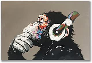 Gorilla Monkey Paintings, 100% Hand Painted Cute Chimp Canvas Oil Painting Stretched and Framed Ready to Hang Living Room ...