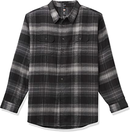 Dickies Camisa de franela de manga larga para hombre