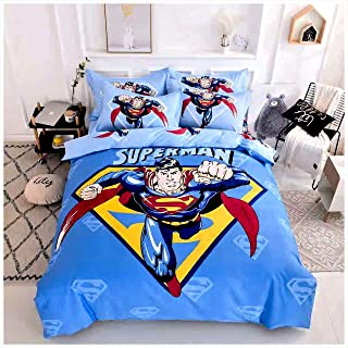 Peachy Baby Featuring Superman Bedding Set Single Queen Twin Full Size 【100% Cotton】【Free Express Shipping】 Blue Cool DC Marvel Cartoon Superhero 3 and 4 Pieces Bed Sheets (Single/Twin Size)