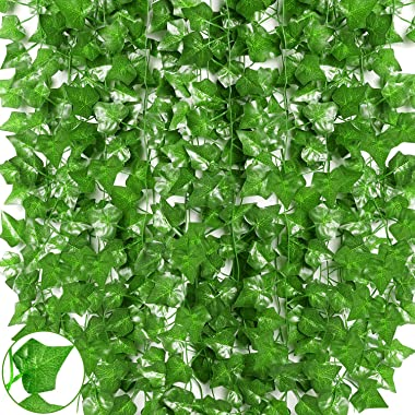 Qlarnaweer Artificial Fake Vines, 84Ft 12 Strands Artificial Ivy Leaf Greenery Garland Wall Decor Hanging Plants Foliage for