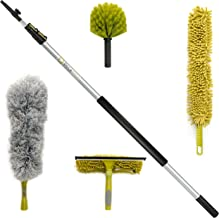 DocaPole Cleaning Kit with 12 Foot Extension Pole // Includes 3 Dusting Attachments + 1 Window Squeegee & Washer // Cobweb...