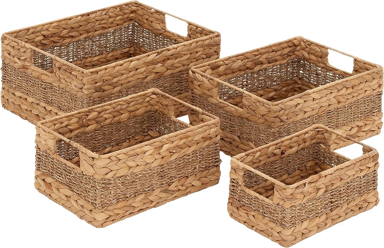 Benzara Creative Styled Fascinating Sea Grass Basket, Set of 4