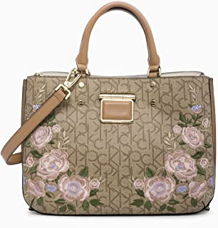 Calvin Klein womens Calvin Klein Dani Floral Embroidered Triple Compartment Satchel