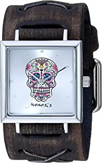 Nemesis SQ Sugar Skull Stainless Steel Analog-Quartz Leather Strap, Silver, 37.9 Casual Watch (Model: KDFXB955S