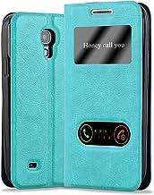 Cadorabo Funda Libro para Samsung Galaxy S4 Mini en Turquesa Menta - Cubierta Proteccíon con Cierre Magnético, Función de Suporte y 2 Ventanas- View Case Cover Carcasa