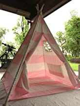 Pericross Kids Teepee Tent Indian Play Tent Children's Playhouse Outdoor Indoor (Pink Stripes with Bottom)