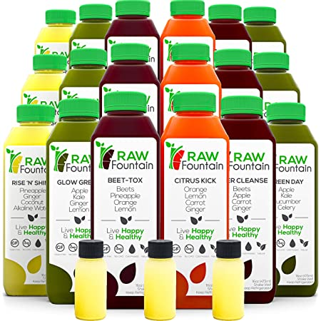 3 Day Juice Cleanse by Raw Fountain, All Natural Raw, Cold Pressed Fruit and Vegetable Juices, Detox Cleanse, 18 Bottles 16oz, 3 Ginger Shots