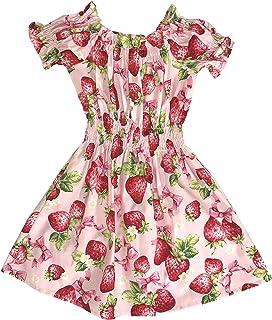 天使のドレス屋さん キッズファッション ワンピース オフショルダー ワンピース 子供服 苺柄 いちご ストロベリー柄 ピンク