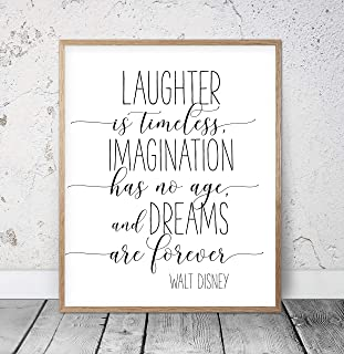Laughter Is Timeless Imagination Has No Age And Dreams Are Forever Walt Disney Quote Kids Room Decor Disney Prints Nursery Printable Art Wood Pallet Design Wall Art Sign Plaque with Frame wooden sign
