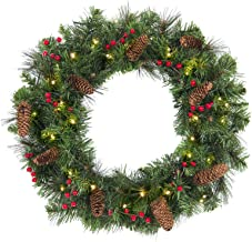 Best Choice Products 24-inch Pre-Lit Cordless Artificial Spruce Christmas Wreath with 50 LED Lights, Silver Bristles, Pine Cones, Berries, Green
