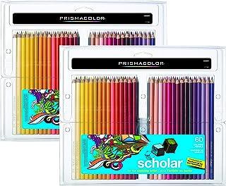 Prismacolor 92808HT Scholar 60 支彩色铅笔;柔软光滑的铅笔适合混合和着色;硬化核心抗破裂;丰富、鲜艳的颜料颜色 2-Packs of 60ea Pack / 120 Total Assorted Multicolor
