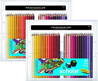 Prismacolor 92808HT Scholar 120 (2 Packs of 60 Pencils) Colored Pencils; Soft, Smooth Leads Ideal for Blending and Shading; Hardened Cores Resist Breakage; Rich, Vibrantly Pigmented Colors