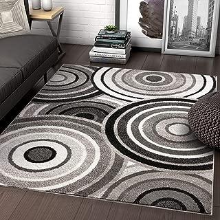 Well Woven Carey Abstract Grey & Black Modern Geometric Circles 8x10 (7'10