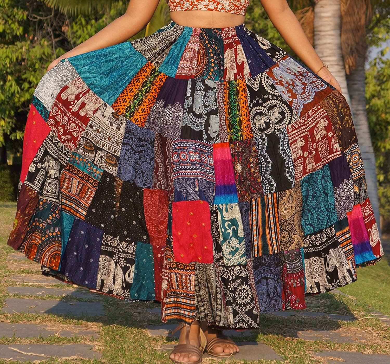ThaiOnline20u Patchwork Skirt Long Boho Colorful Unique Gypsy ...