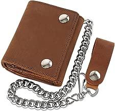 RFID Blocking Men's Tri-fold Vintage Biker Cowhide Top Grain Leather Steel Chain Wallet,Snap closure, Made In USA,…