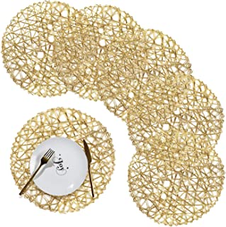 Round Braided Placemats Set of 6 Washable Round Placemats for Kitchen Table 15''/38cm Golden Placemat for Wedding,Holiday