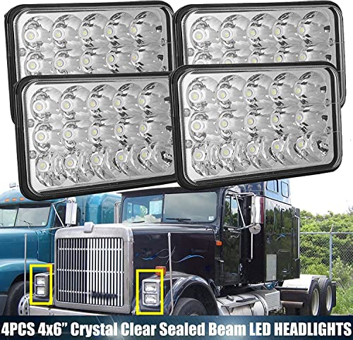 new arrival 4X6 LED Sealed Beam Headlights Upgraded sale Chrome popular High Low Lights For International 9300 9300 Eagle Series, H4651 H4642 H4652 H4656 H4666 H4668 H6545 6000K Headlamp, 2 Year Replacement sale