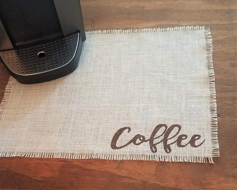 Burlap specialty shop Coffee Bar Mat Placemat M Ivory Manufacturer OFFicial shop For