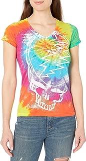 Liquid Blue Women's Juniors Grateful Dead Steal Your Face Rainbow Tie Dye Graphic Tee