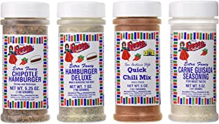 Bolner's Fiesta Extra Fancy Hamburger or Ground Meat Seasoning 4 Flavor Variety Bundle: (1) Chipotle Hamburger Seasoning, (1) Hamburger Deluxe, (1) San Antonio Style Quick Chili Mix, and (1) Carne Guisada Seasoning For Meat Tacos, 5-7 Oz. Ea.