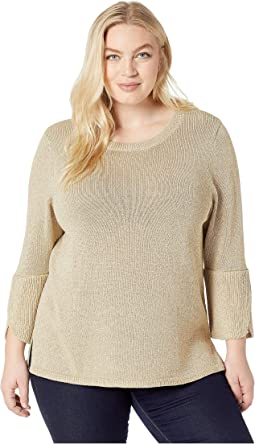 Plus Size Lurex Bell Sleeve Sweater