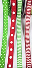 Charmed Christmas Grosgrain Ribbon 3/8 inch red and Apple Green with Polka dot Pattern (150 Yards)