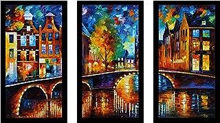 Picture Perfect International Leonid Afremov The Bridges of Amsterdam Framed Plexiglass Art Set of 3 Wall-Decor, 17.5