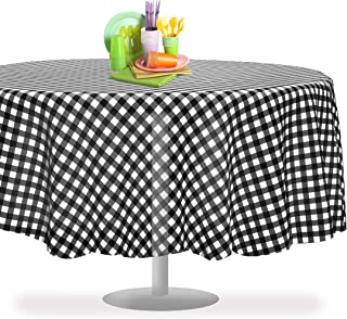 Black Checkered Gingham 12 Pack Premium Disposable Plastic Tablecloth 84