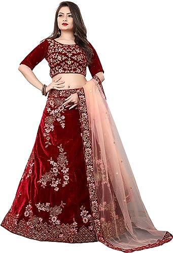 Indian lehenga for women free size lehga choli gown fancy lehenga for wedding guest ghagra choli MAROON Free Size