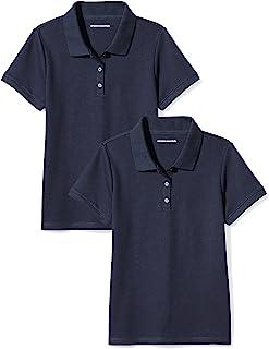 Amazon Essentials Girl`s Short-Sleeve Uniform Interlock Polo