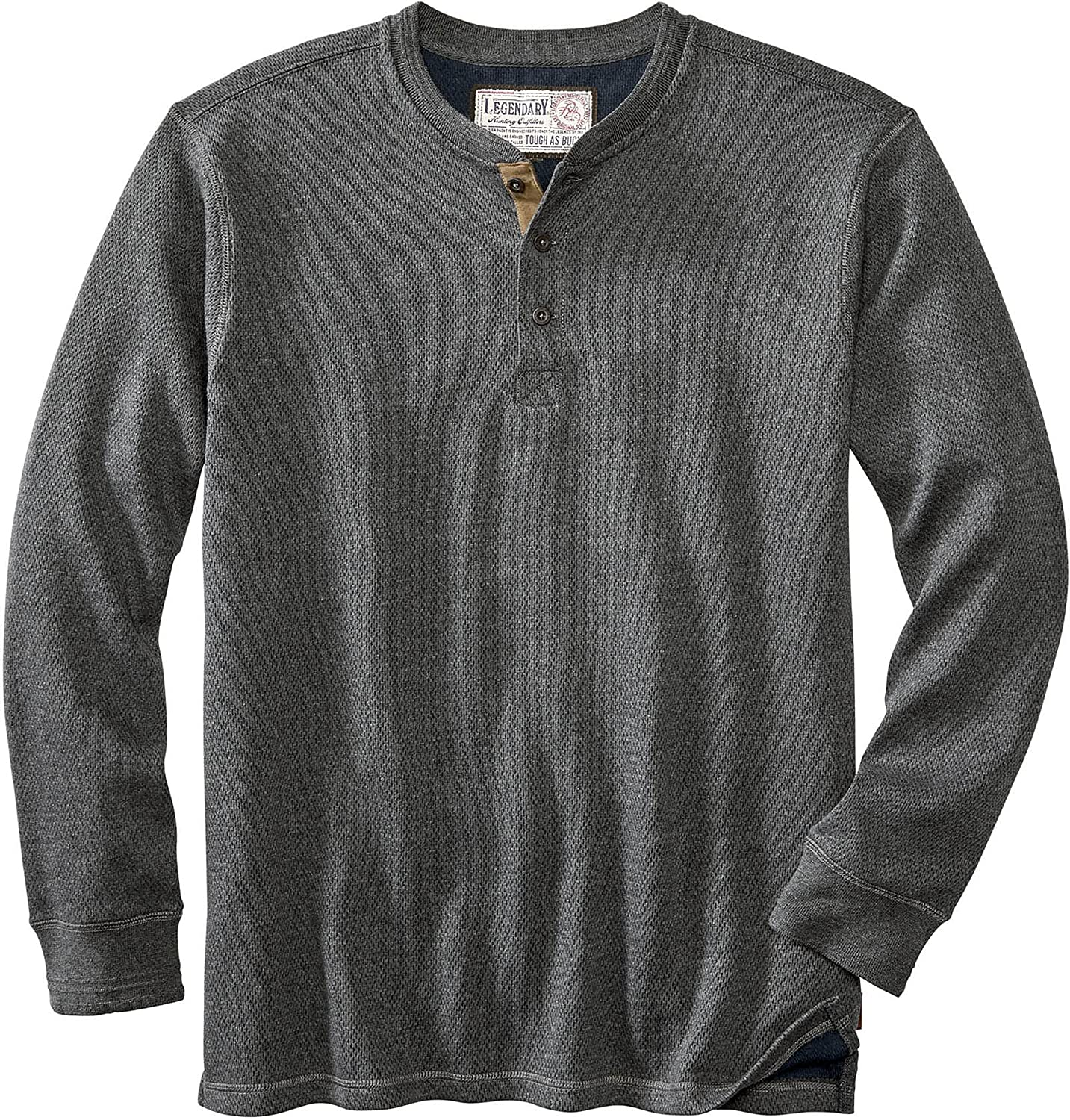 Legendary Whitetails Men's Tough as Buck Double Layer Thermal Henley Shirt-Casual Long Sleeve Waffle Knit Regular Fit
