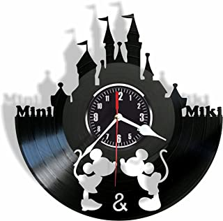 Rosidesignstudio Cute mouses Love Story Kids Vinyl Wall Clock- Modern Room Decor - Unique Handmade Gift for Friends and Someone You Love