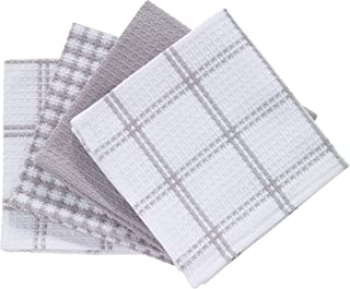 T-fal Textiles 24354 4-Pack Cotton Flat Waffle Dish Cloth, Gray, 4 Pack