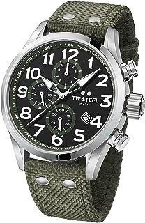 TW Steel Men's Volante Stainless Steel Japanese-Quartz Watch with Nylon Strap, Green, 24 (Model: VS24)