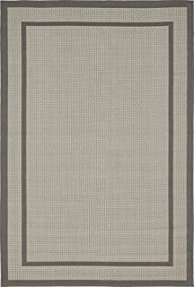 Unique Loom Outdoor Border Collection Casual Solid Transitional Indoor and Outdoor Flatweave Gray Area Rug (4' 0 x 6' 0)