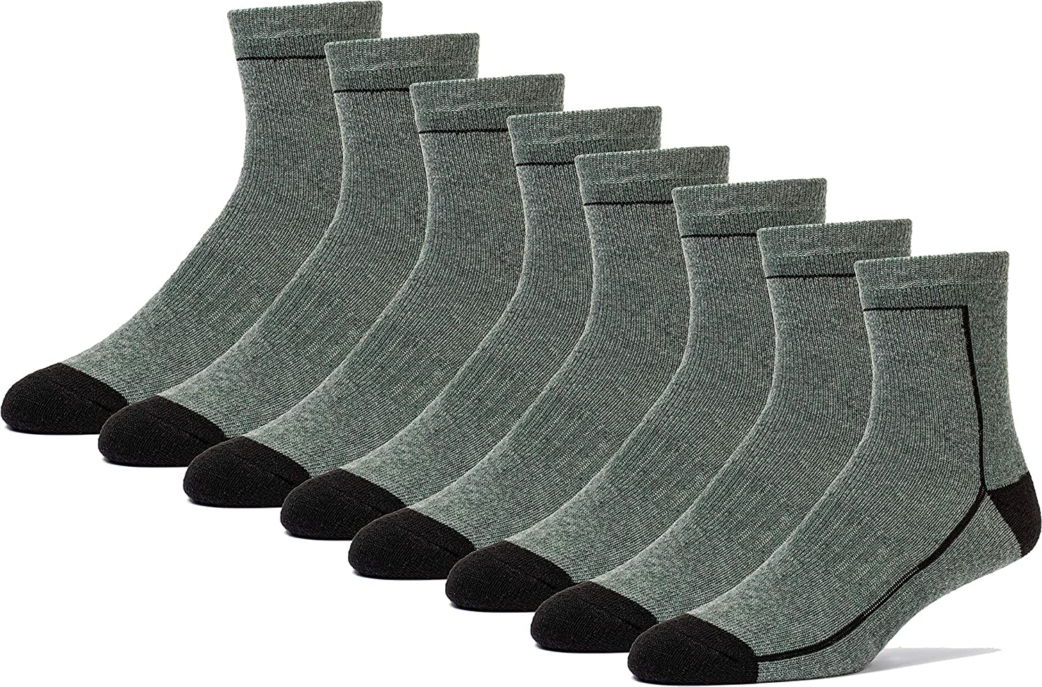 FUN TOES Kids Quarter Merino Wool Socks 4 Pairs Cushioned Arch Support Ideal For Hiking Skiing