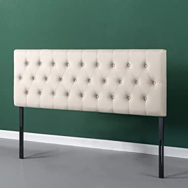 ZINUS Trina Upholstered Headboard / Button Tufted Upholstery / Adjustable Height / Easy Assembly, Taupe, Queen