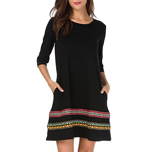 f70d1670a6ed THANTH Womens 3 4 Sleeve A-Line Embroidered Loose Casual T-Shirt Tunic