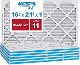 """Aerostar Allergen & Pet Dander 16 1/2x21 1/2x1 MERV 11 Pleated Air Filter, Made in the USA, (Actual Size: 16 1/2""""x21 1/2""""x3/4""""), 6-Pack"""