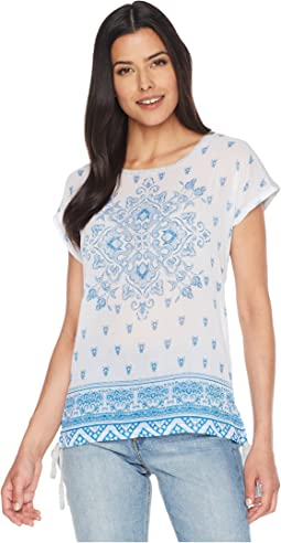 Short Sleeve Side Tie Persian Medallion Mix Media Tee