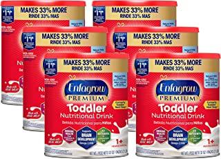 Enfagrow Next Step Premium Toddler Nutritional Milk Drink, Natural Milk Flavor Powder, 32 oz. Can (6 Cans) - Omega 3 DHA, Prebiotics, Non-GMO, (Packaging May Vary) from The Makers of Enfamil
