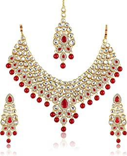 1d2467f703 MEENAZ Gold Plated Kundan Pearl and Ruby Studded Maang Tikka Necklace Set  with Earrings for Women