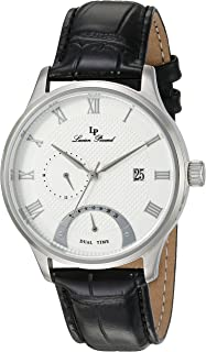 Lucien Piccard Men's 'Volos' Quartz Stainless Steel and Black Leather Casual Watch (Model: LP-10339-02S)
