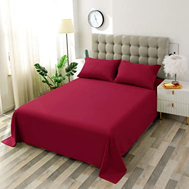 Toodou Brushed Burgundy Cal King Size Flat Sheet is Surprisingly Soft, Comfortable, exceptionally Durable, Wrinkle and Fade R